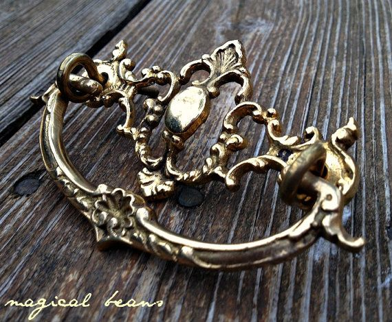Antique Brass Escutcheon Drop Bail Drawer Pulls Victorian
