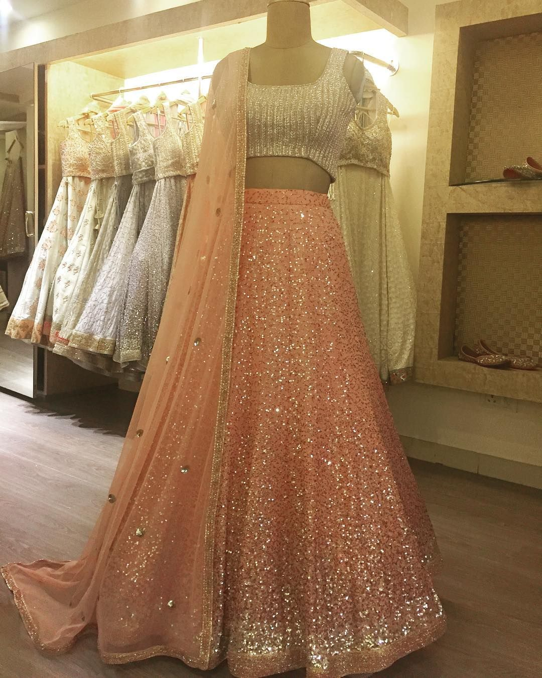 Wedding Dress Red silk Lehenga Pair With Gold Sequin Blouse and net Dupata Bridemaid Dress Customize Dres s Sequin Border in Lehenga