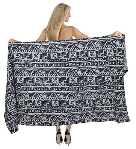 La Leela 100 Cotton Allover Abstract Design Beach Hawaiian Wrap 88x39INCHBlack Valentines Day Gifts 2017 >>> Want to know more, click on the image.