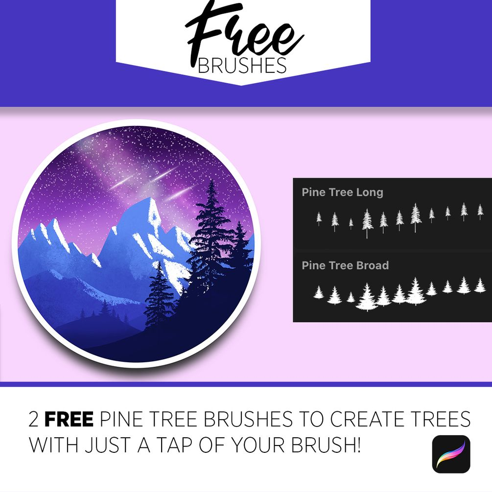 Free Pine Tree Brushes For Procreate And Photoshop In 2020 Photoshop Brushes Free Free Brush Free Photoshop