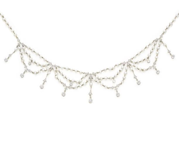 A pearl and diamond fringe necklace