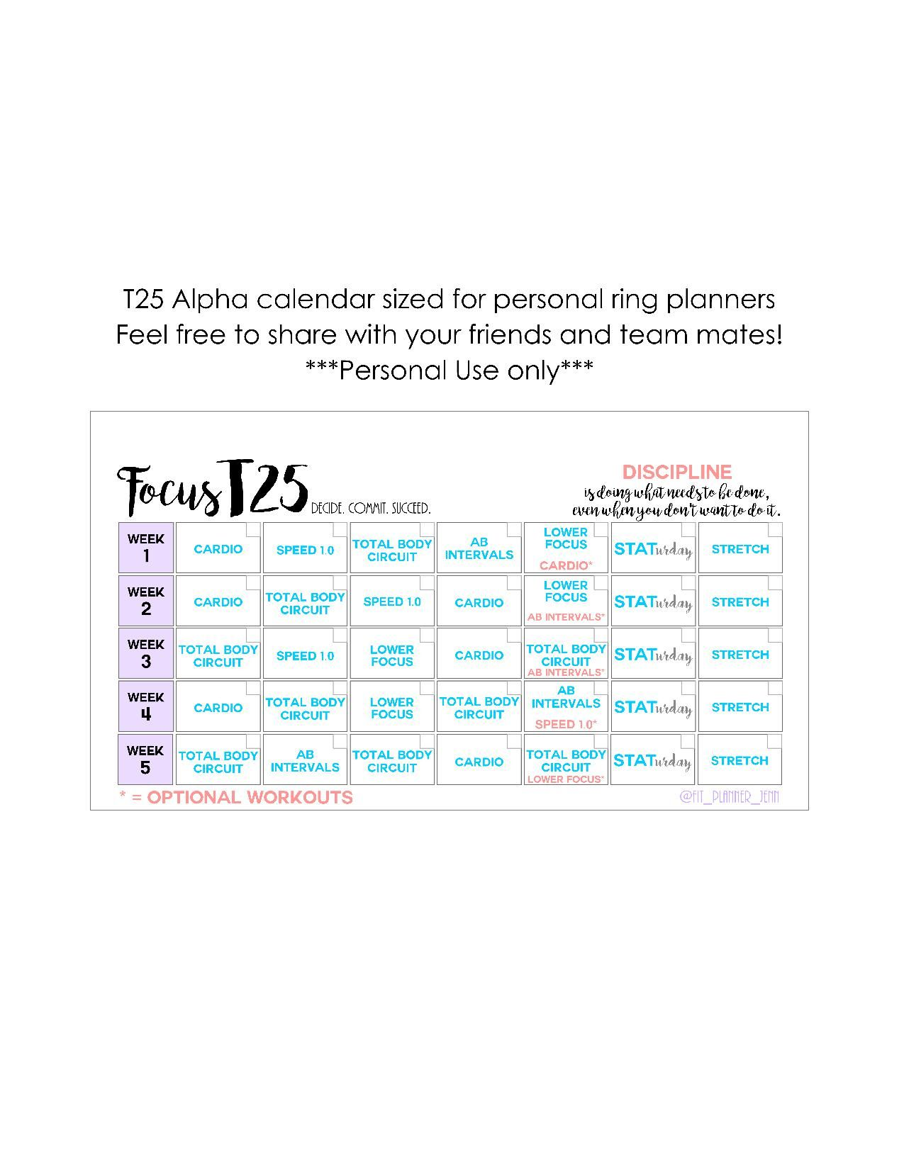 graphic relating to T25 Schedule Printable referred to as T25 Alpha calendar printable for particular person sizing ring planners