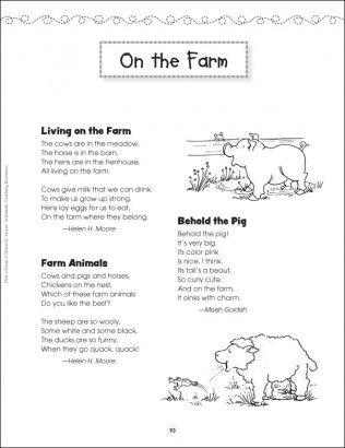 On The Farm Pick A Poem Kindergarten Poems Farm Unit