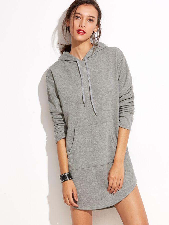sortie de gros qualité incroyable bonne vente Shein Hooded Pocket Curved Hem Sweatshirt Dress | Products ...