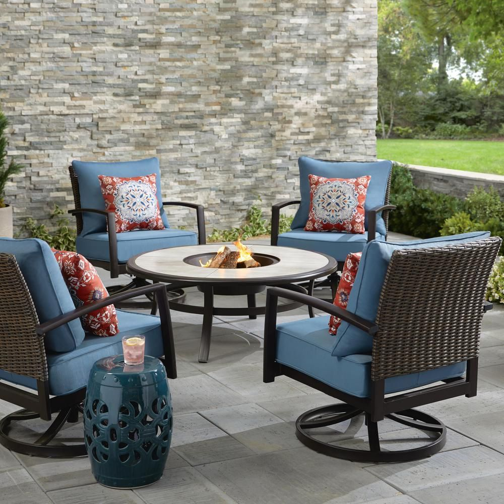 Hampton Bay Whitfield 5 Piece Dark Brown Metal Outdoor Patio Round Fire Pit Seating Set W Cushionguard Steel Blue Cushions 3022 Cm4 The Home Depot Outdoor Patio Furniture Sets Outdoor Patio Furniture Resin