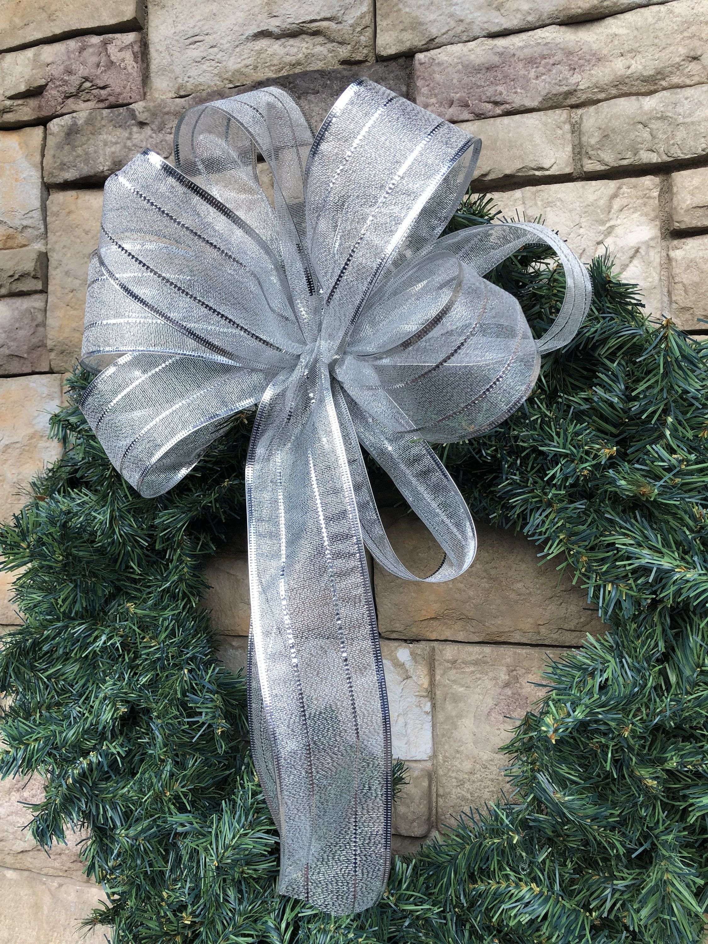 4 Large Silver Sheer Bow Wired Christmas Silver Bows Bow 3 Yards Of Silver Ribbon 6 Yar Christmas Wreath Bows Ribbon On Christmas Tree Turquoise Christmas Tree