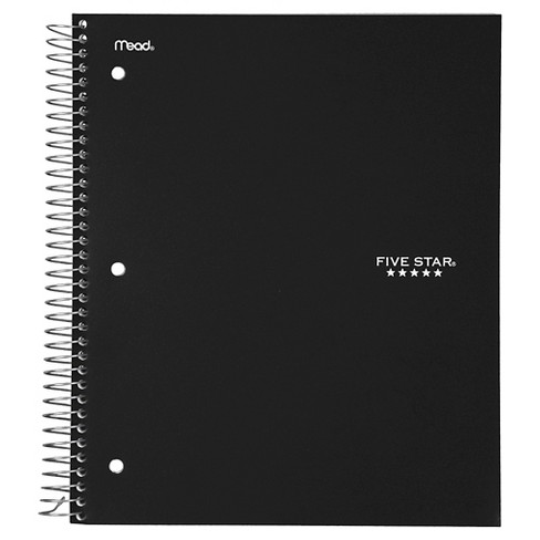Five Star 3 Subject College Ruled Spiral Notebook Black Target College Rule Five Star Notebook Ruled Notebook