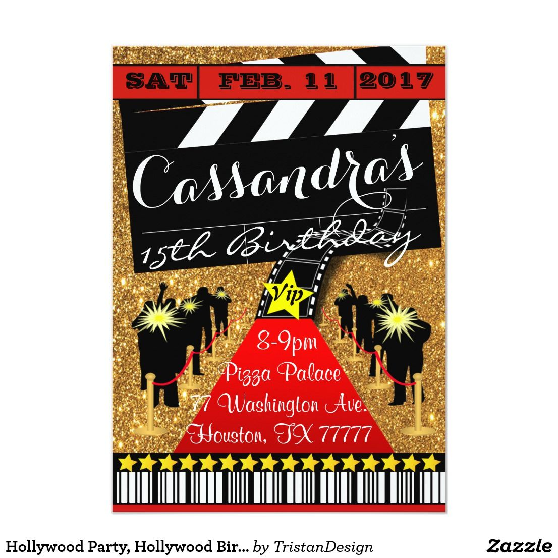 Hollywood Party, Hollywood Birthday Invitation Party with the stars ...