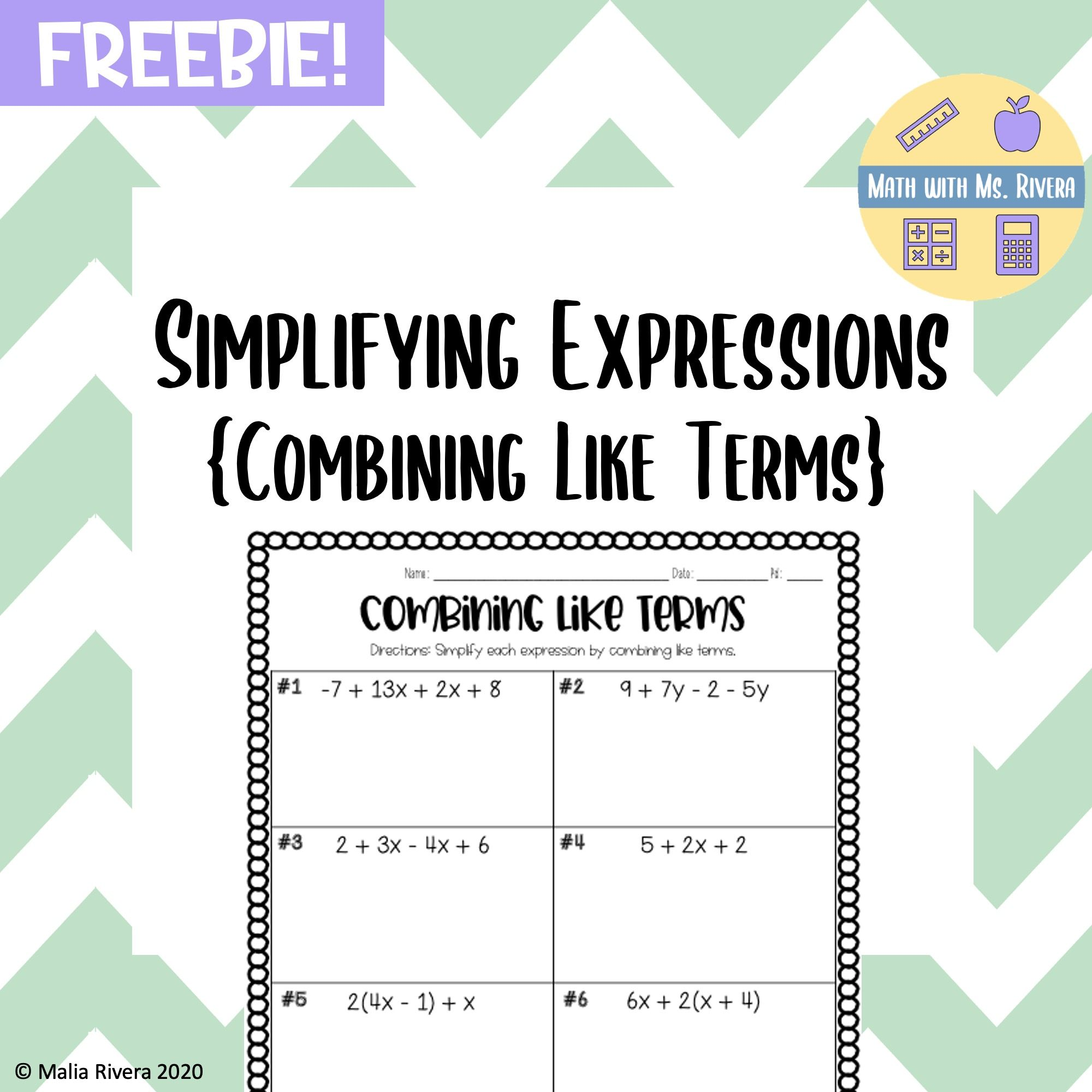 Simplifying Expressions Combining Like Terms Worksheet Freebie Simplifying Expressions Evaluating Expressions Evaluating Algebraic Expressions