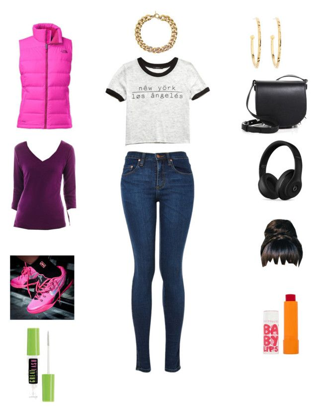 """""""What I wore yesterday """" by parislover924 ❤ liked on Polyvore featuring St. John's Bay, Forever 21, The North Face, NIKE, Michael Kors, Brooks Brothers, Alexander Wang, Beats by Dr. Dre, Maybelline and women's clothing"""