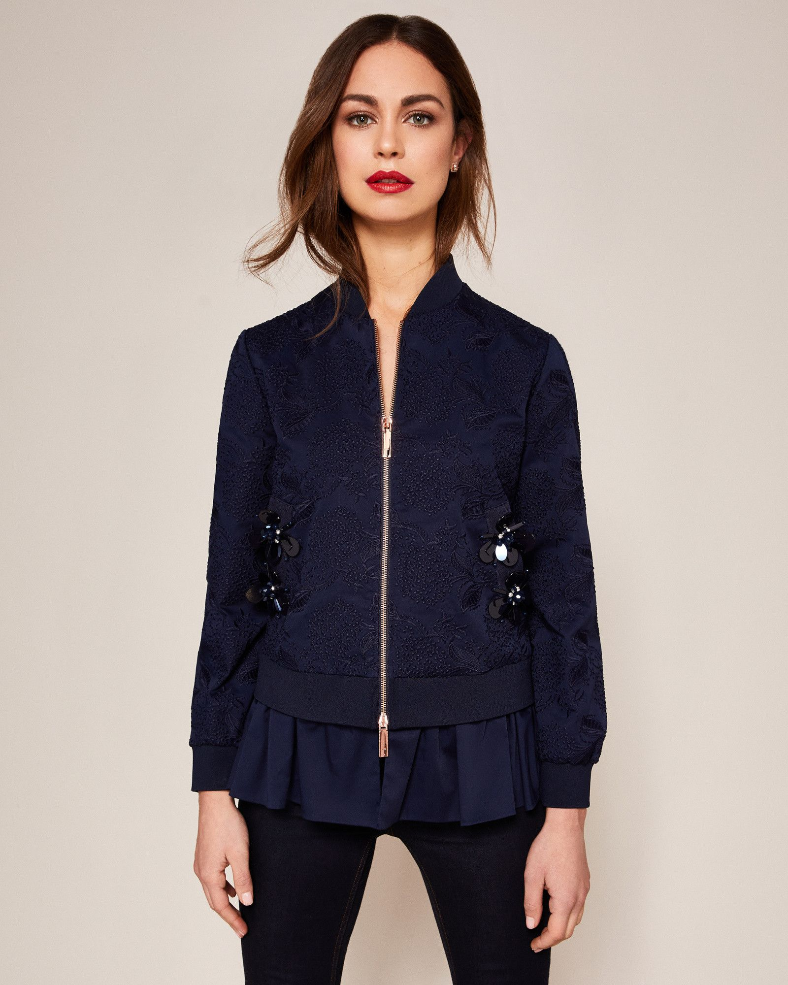 a2294d62350 Ted Baker Embellished cotton bomber jacket Navy | Products | Jackets ...