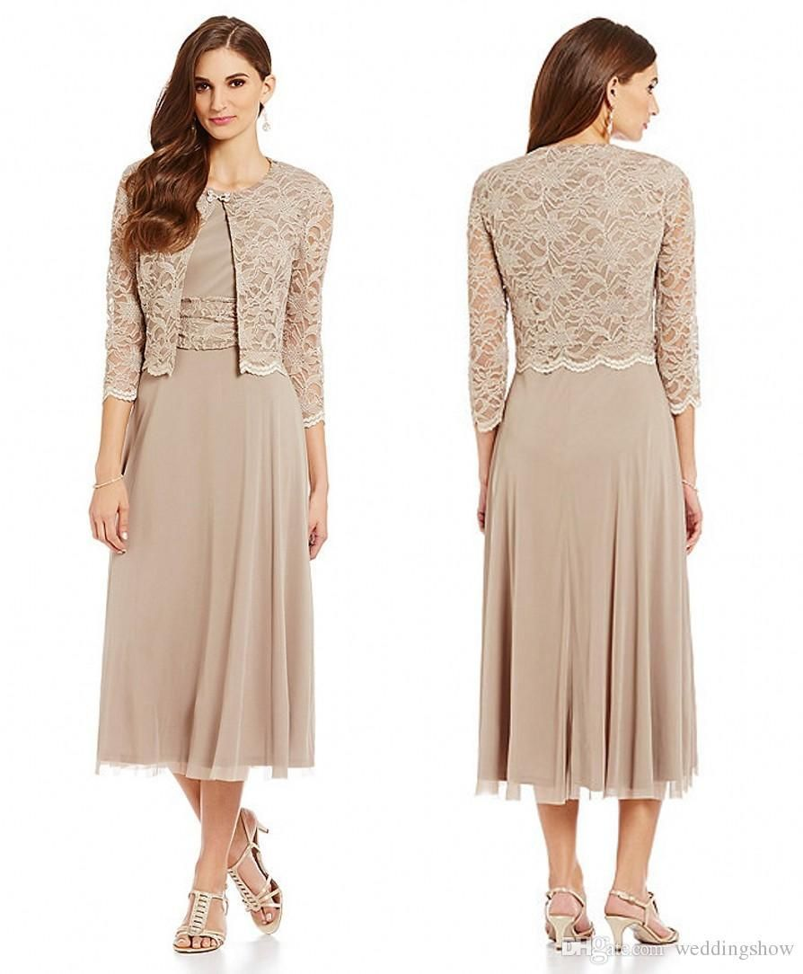Modest 2016 Tea Length Mother Of The Bride Dresses With Jackets ...
