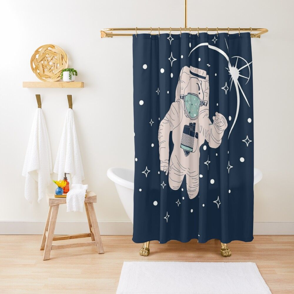 Spaceman Cosmonaut Pilot Astronaut Space Cosmonaut Outer Space Astronaut Lovers Shower Curtain By Svggods In 2020 Outer Space Designer Shower Curtains Astronaut Art