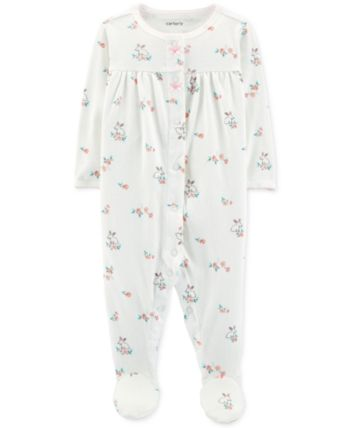 f72dc0edd429 Carter s Carter Baby Girls Pointelle Floral Footed Cotton Pajamas in ...