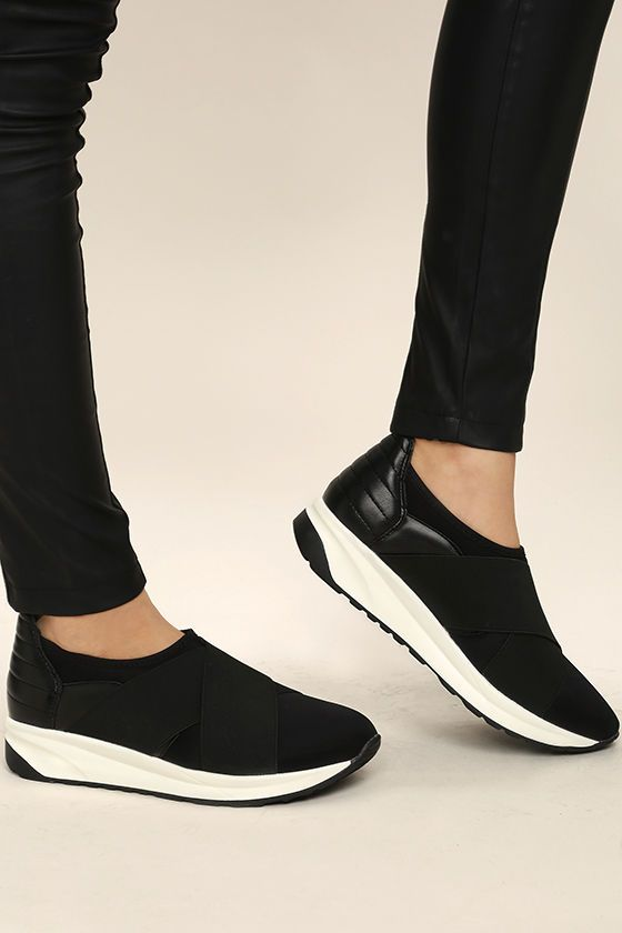 pick up 7f77e 5833f The Merilee Black Slip-On Sneakers are the chicest in the streets!  Crisscrossing wide elastic bands at the vamp bring a futuristic element to  these cool ...