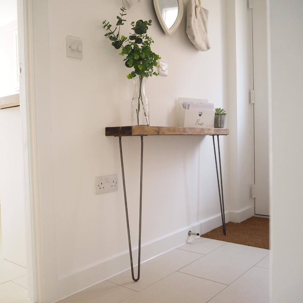 Narrow Console Table With Hairpin Legs, Wooden Rustic