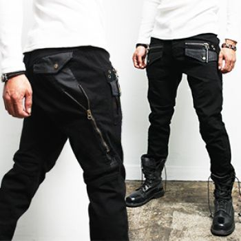 Zipper Pocket Styling Black Jeans 191