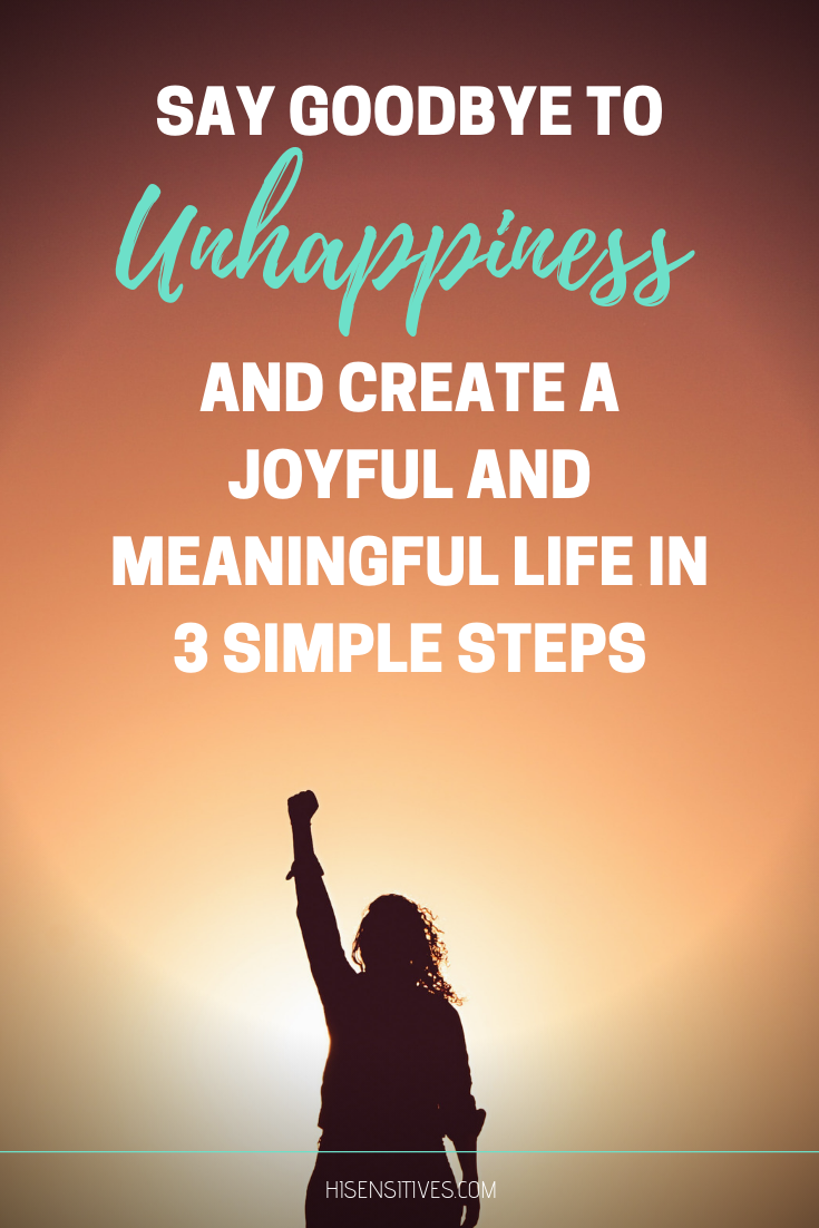 Wave unhappiness goodbye by applying these 3 simple steps to your life!  #happiness #mental #health...