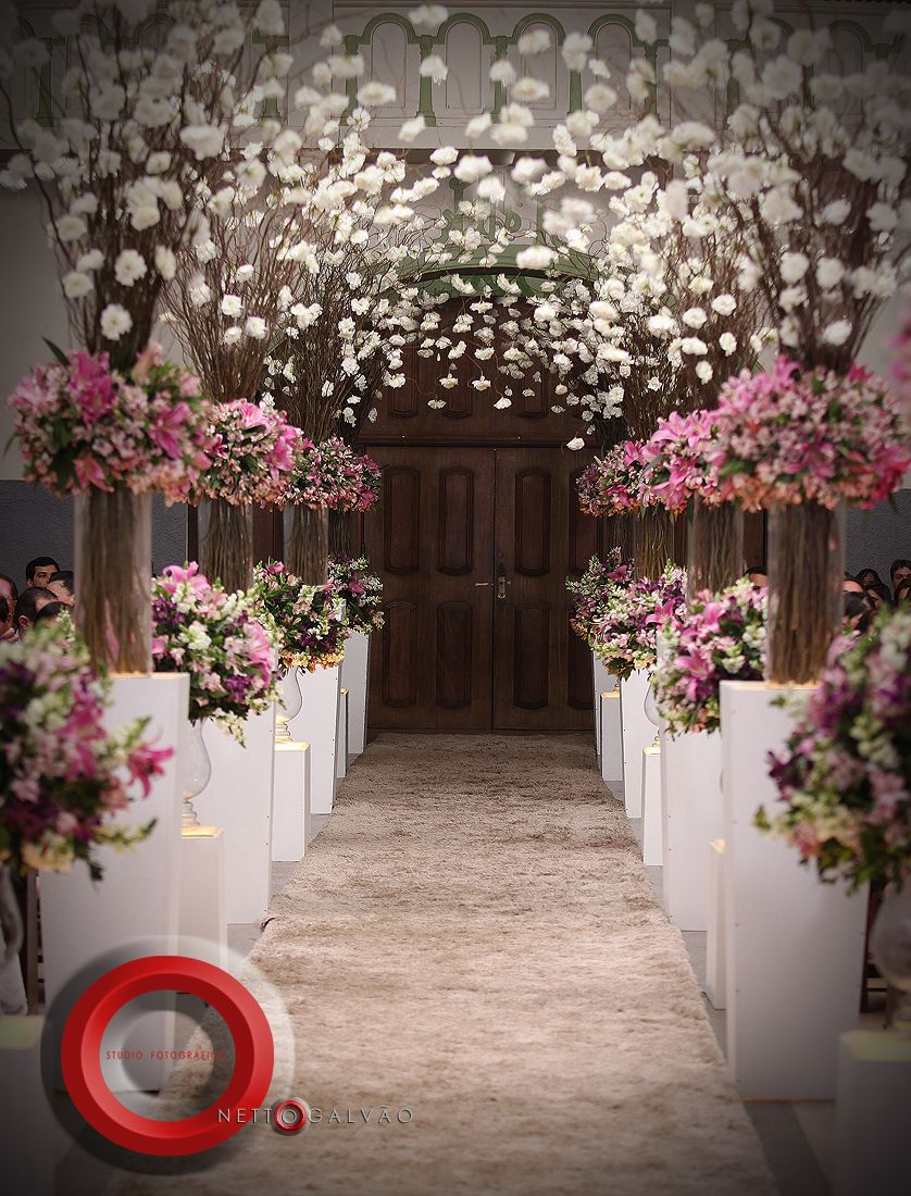 Gorgeous wedding decorations ceremony decor pinterest wedding aisle decorated with pink and white flowers junglespirit Gallery
