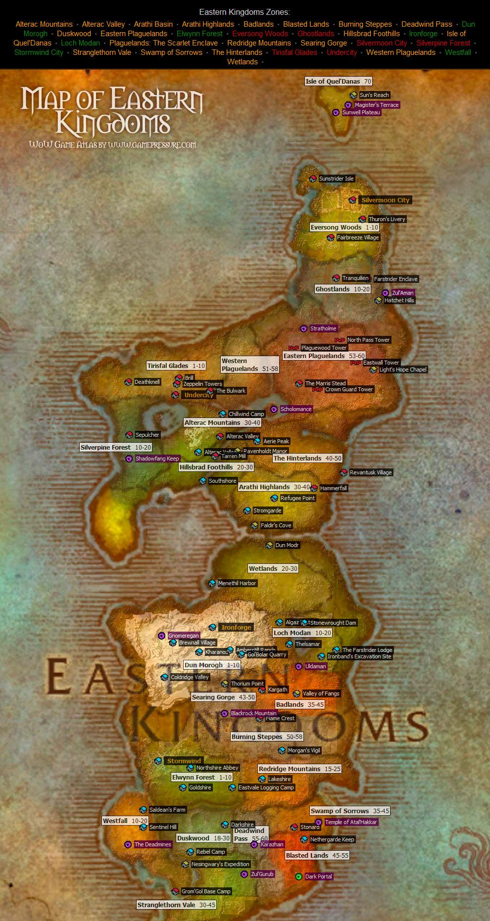 Eastern Kingdoms Map from World of Warcraft