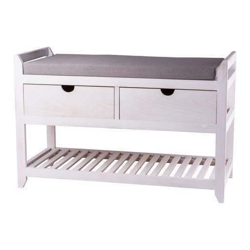 Banc de rangement 2 tiroirs - Pin - 80 x 35 x H 52 cm - Blanc ...