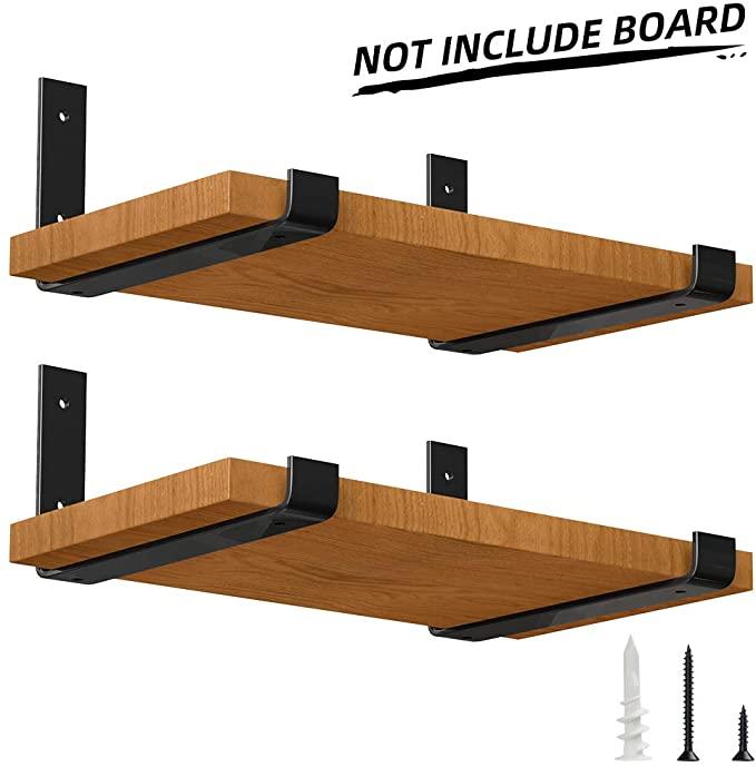 Luckin 4 Pack 12 Inch Metal Lip Bracket For Diy Rustic Floating Shelf Perfect Fit Standard Board In 2020 Floating Shelves Diy Rustic Floating Shelves Floating Shelves