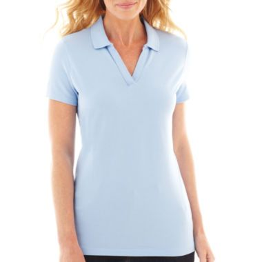 e20bf63d294 St. John's Bay® Short-Sleeve Johnny Collar Polo Shirt - Petite found at @ JCPenney