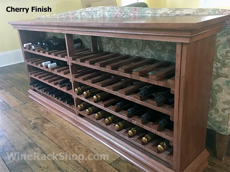 64 Bottle Maple Wine Console Table 70 W X 30 H X 12 D Shown Here In Cherry Finish Available In Several Wine Furniture Diy Storage Table Wine Rack Storage