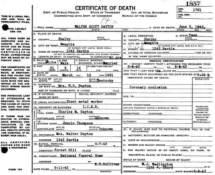 Tennessee death certificates | A Branch off the Ole Tree | Pinterest ...