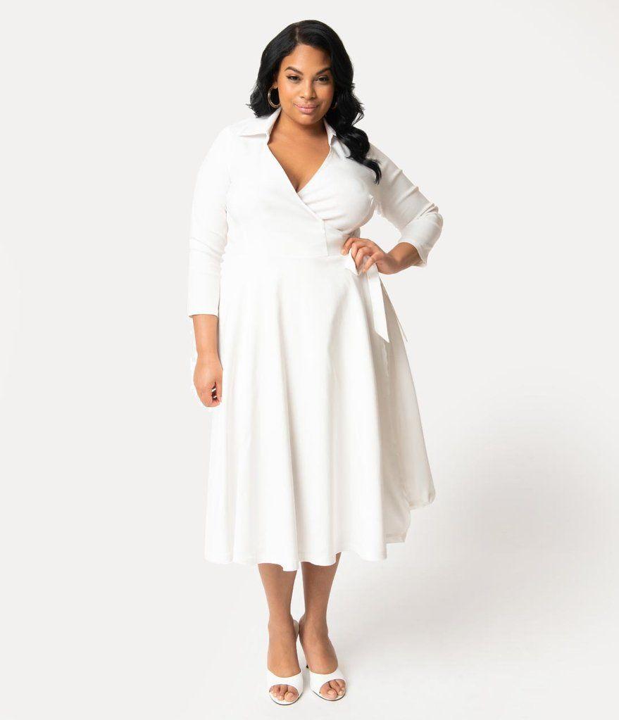 Unique Vintage Plus Size 1950s Style White Stretch Sleeved Anna Wrap Dress Plus Size Short Dresses Dressy Fashion Dresses [ 1023 x 879 Pixel ]