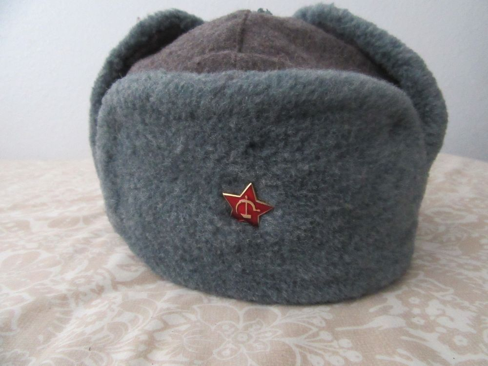 a081c12e317f6 80s Russian Military ushanka winter hat ear flaps Red star Trapper Bomber 60