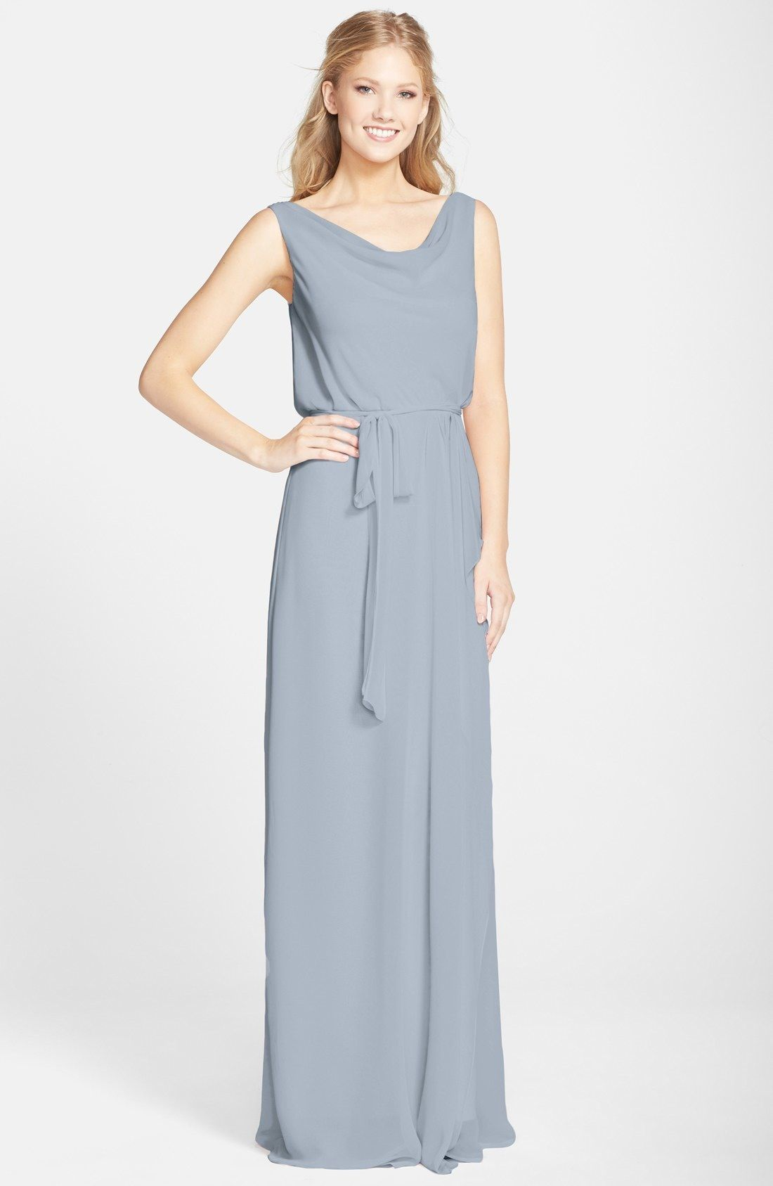 nouvelle AMSALE 'Kim' Drape Neck Wrap Skirt Chiffon Gown available at #Nordstrom