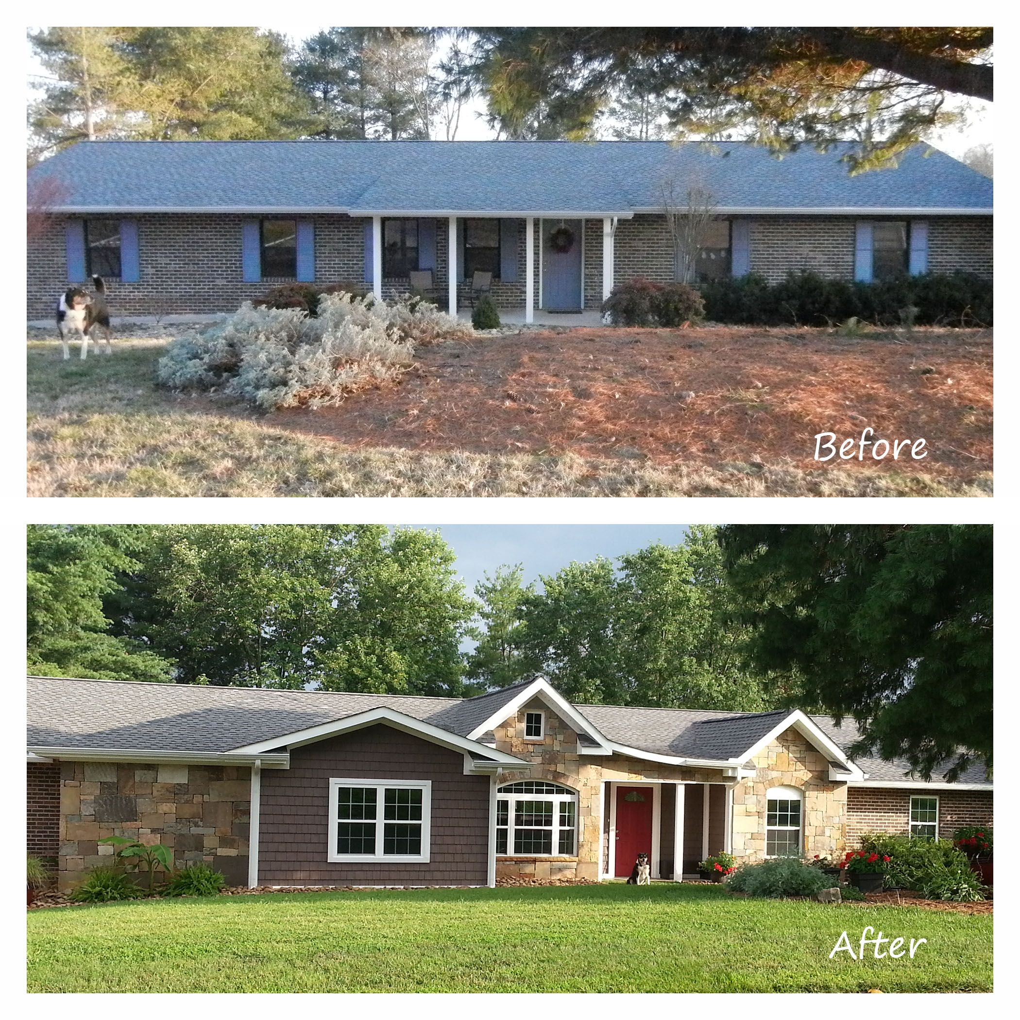 ranch style house remodel before and after home redesign Before and After Exterior Renovation. Ranch house remodel with stone,  shakes, and brick.