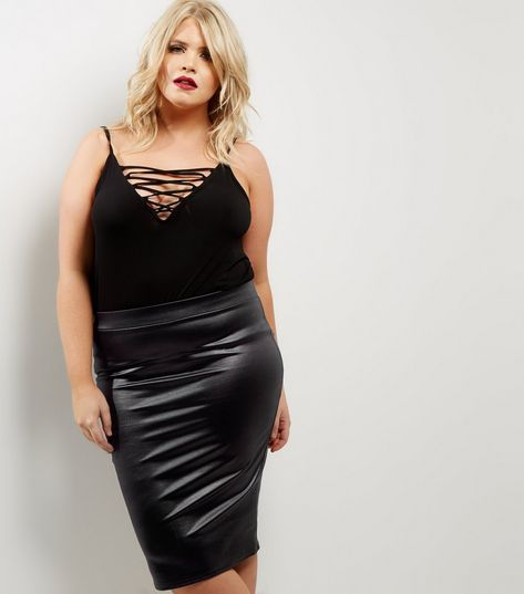Curves Black Coated Pencil Skirt Things To Wear Pinterest