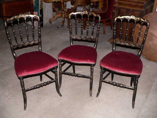 3 chaises napol on iii en bois noir avec dorures peintes. Black Bedroom Furniture Sets. Home Design Ideas
