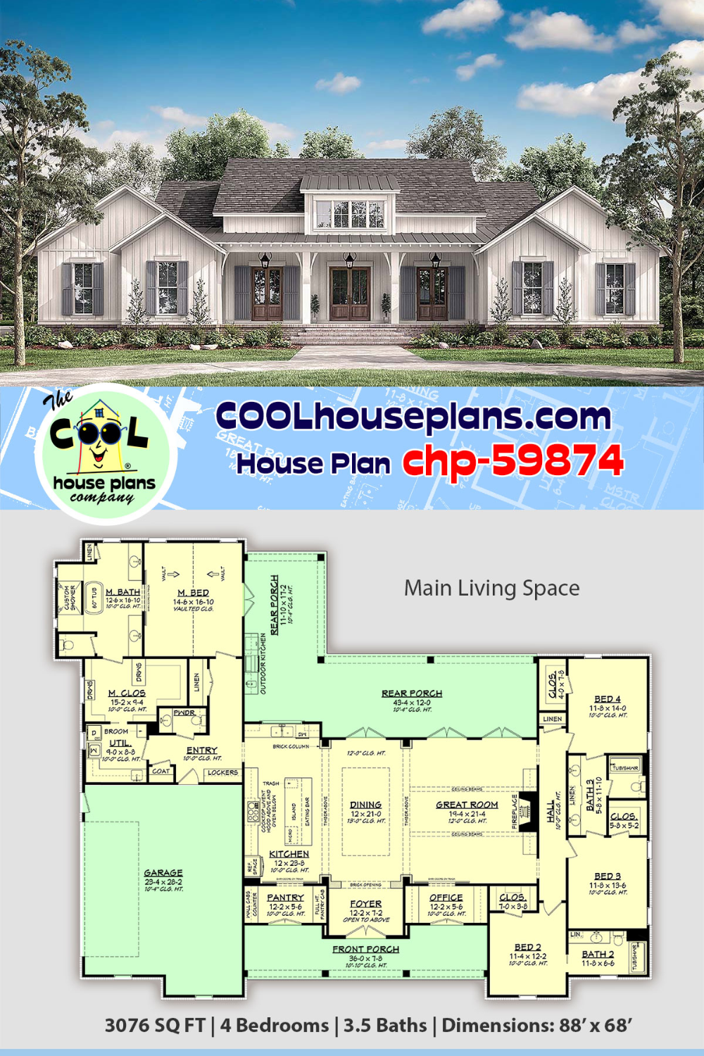 House Plan Chp 59874 At Coolhouseplans Com Farmhouse Style House Plans Farmhouse Style House Best House Plans