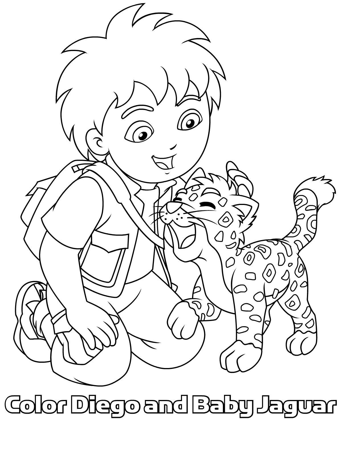 Kleurplaten Dora En Friends.Diego En Baby Jaguar Samen Op 1 Kleurplaat Clip Art Cute