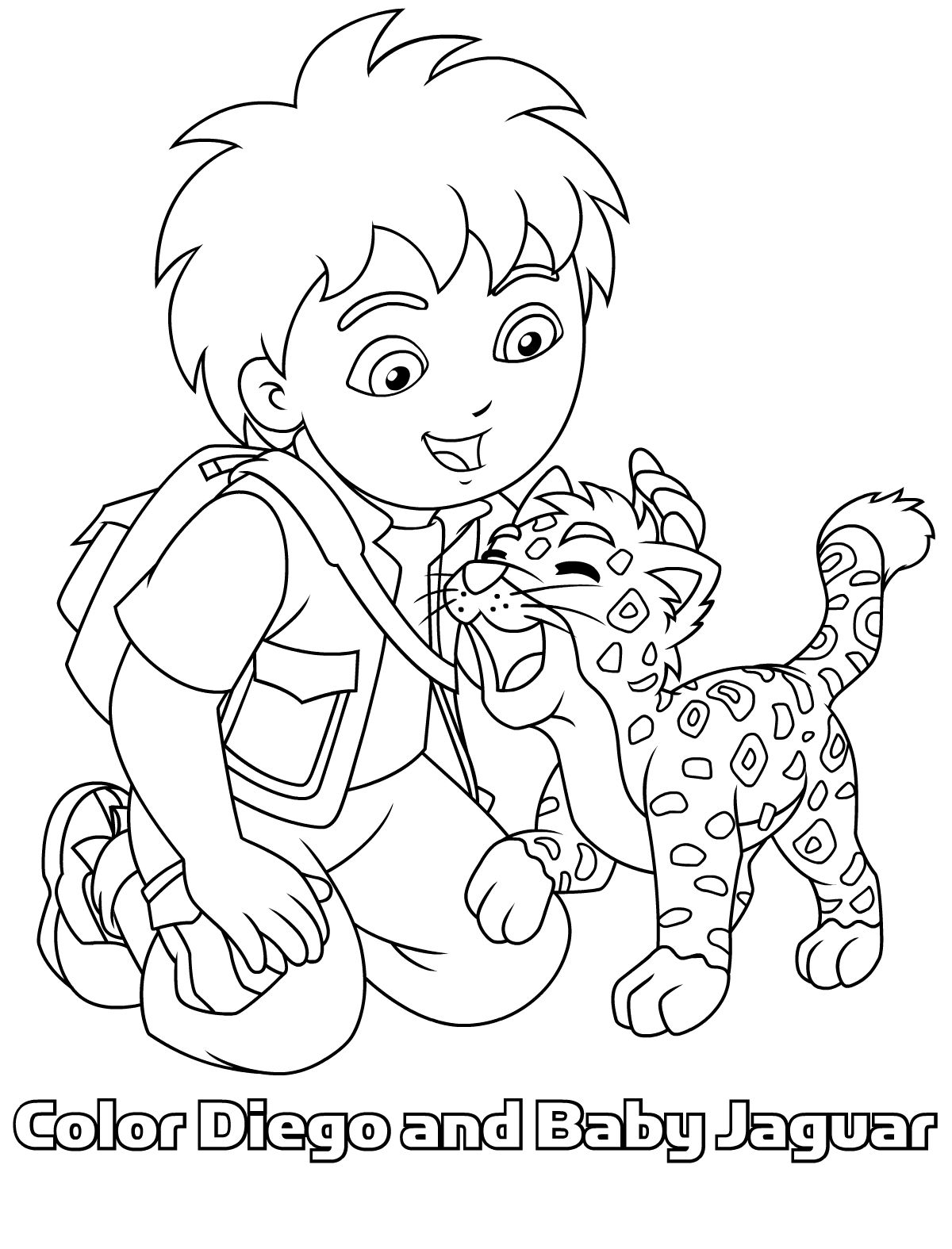 Diego En Baby Jaguar Samen Op 1 Kleurplaat Clip Art Cute