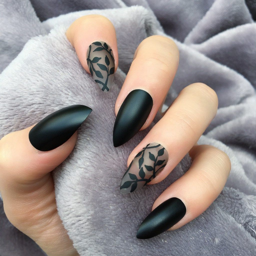black matte dainty stiletto