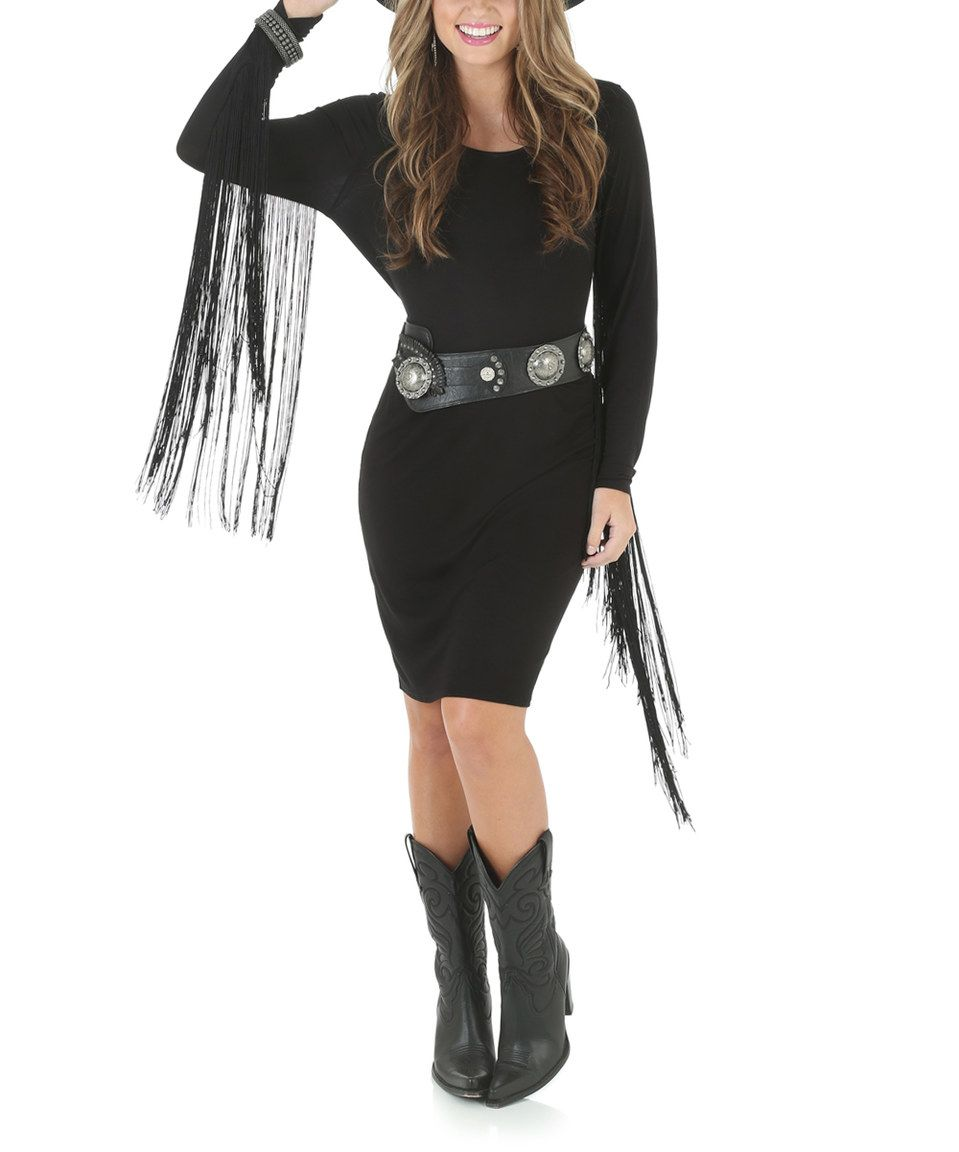 Love this Black Fringe-Sleeve Bodycon Dress by Wrangler on #zulily! #zulilyfinds