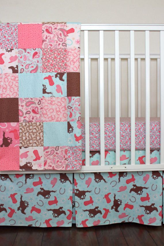 Cow Crib Bedding Pink And Mint Fl