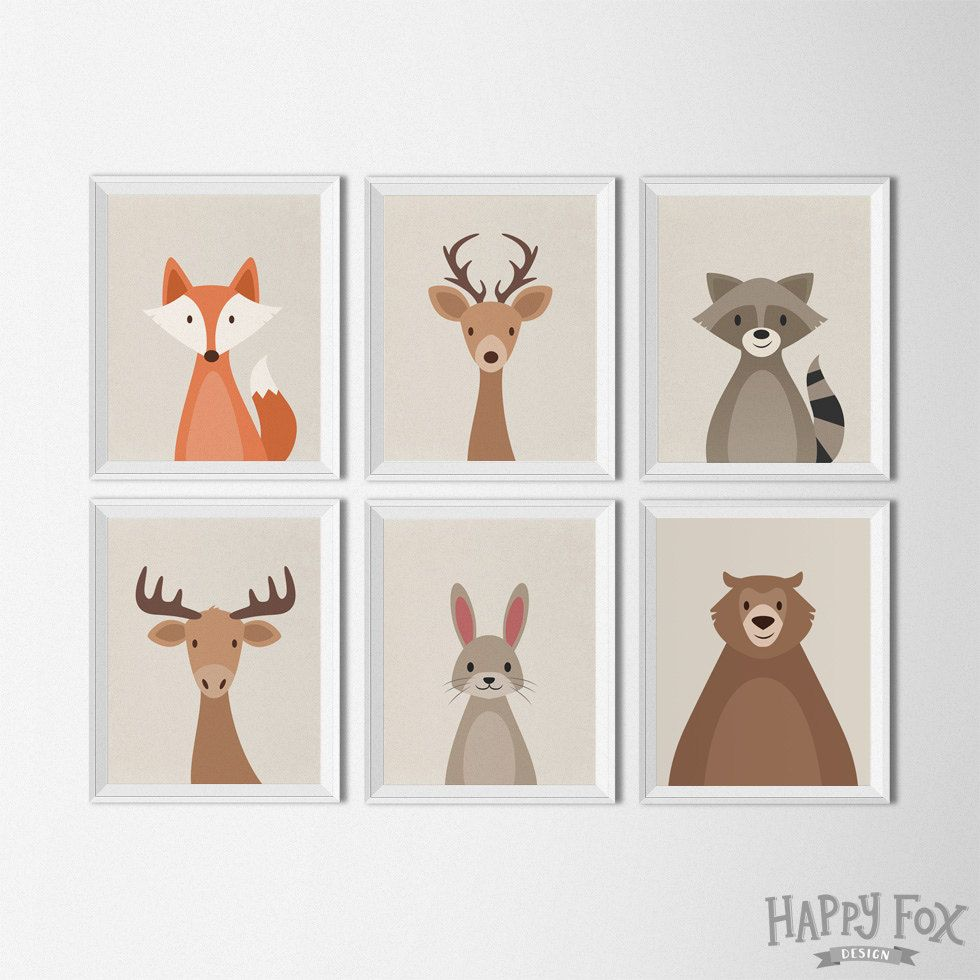 Woodland animal set art printables nursery decor by for Kinderzimmer set baby