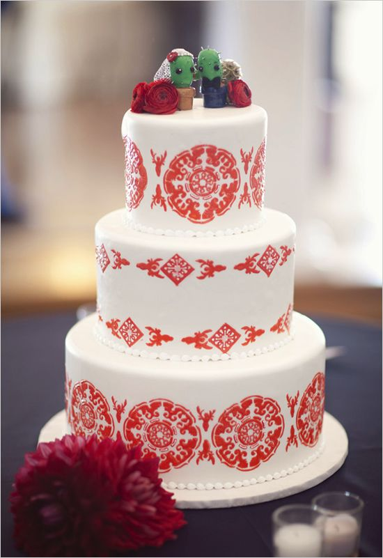 A Fun And Patterned Spanish Style Wedding Cake