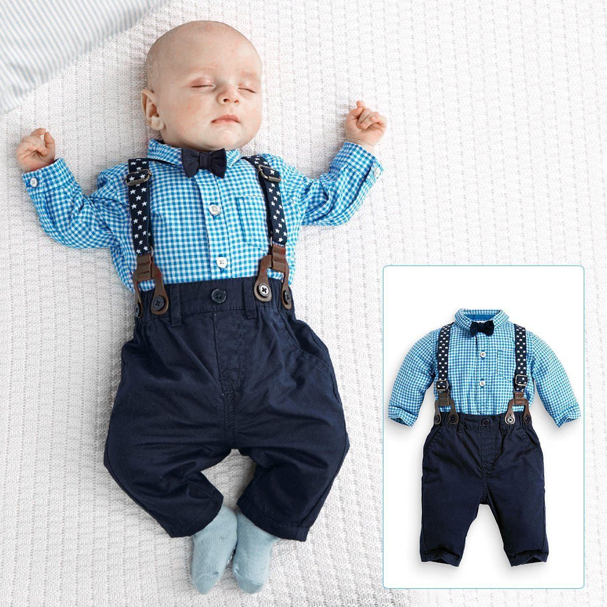 Flannel shirt for baby boy  PCS M Baby Boys Plaid Shirt Bow tie Suspender Trousers Formal