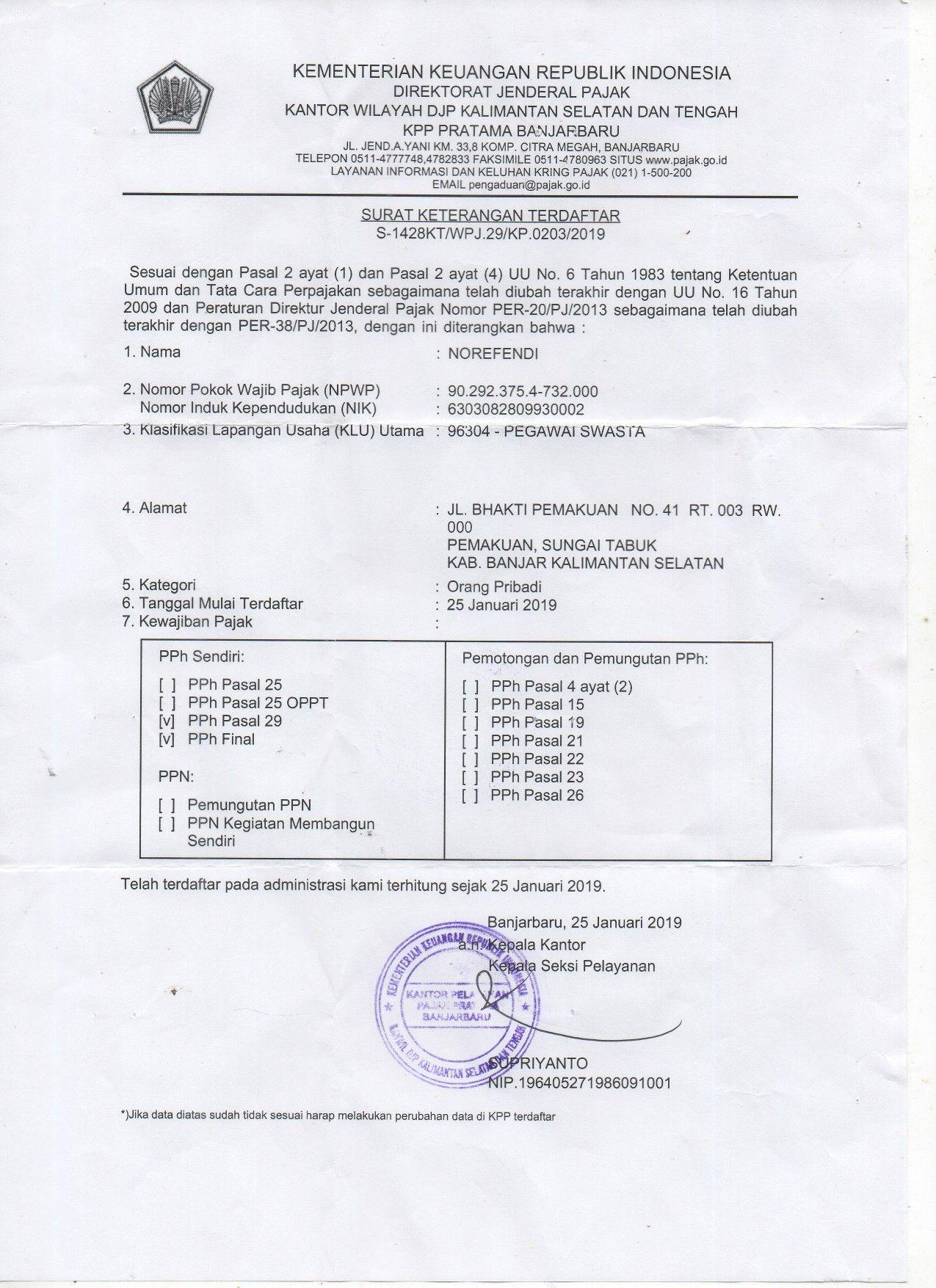 Surat Keterangan Terdaftar Npwp Kpp Pratama Banjarbaru