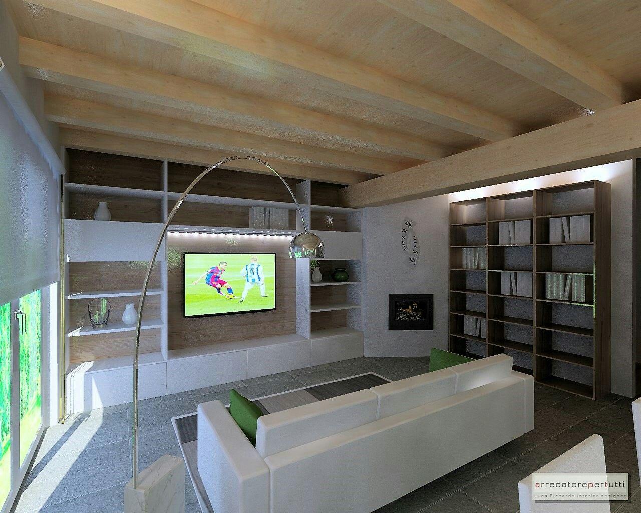 Soggiorno moderno soffitto on legno con travi progetto d con