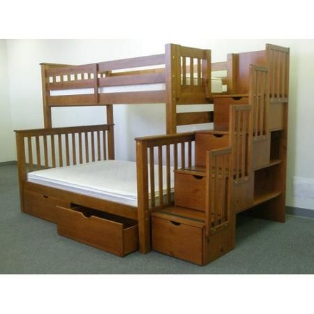 Bedz King Stairway Bunk Beds Twin Over Full With 4 Drawers In The Steps Espresso Walmart Com In 2021 Bunk Bed Plans Bunk Beds With Stairs Bunk Beds