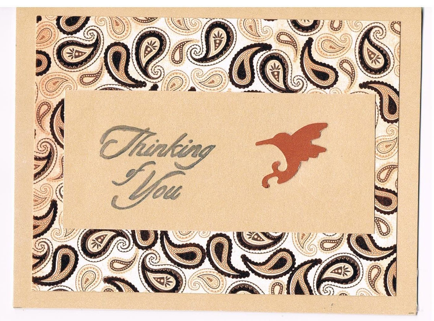 Paisley And Hummingbird One Of A Kind Thinking Of You Greeting Card
