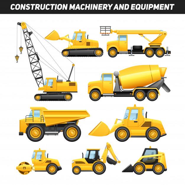 Maquinaria Y Equipos De Construccion Con Camiones Grua Y Bulldozer Vector Gratis Camiones Construccion Fiestas De Cumpleanos De La Construccion
