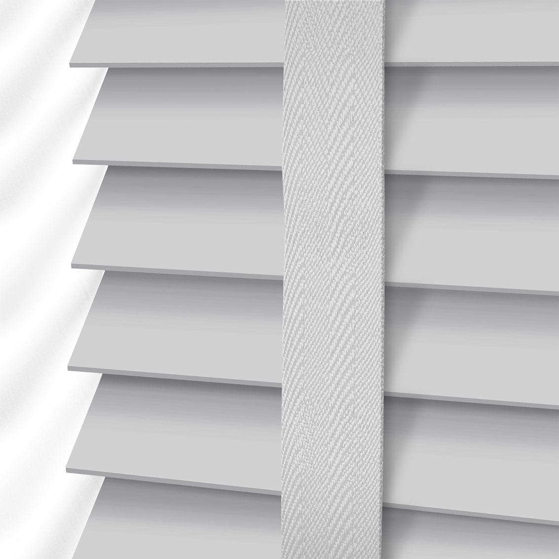 Pearl Grey Amp Mist Wooden Blind With Tapes 50mm Slat